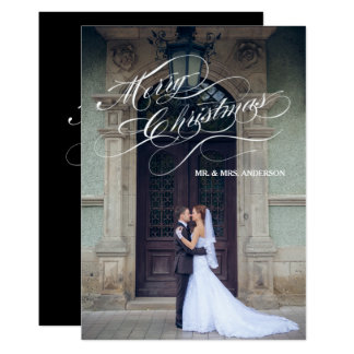 Elegant Script Newly Married   Holiday Photo Card 13 Cm X 18 Cm Invitation Card