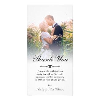 Elegant Script Overlay Wedding Photo Thank You Photo Greeting Card