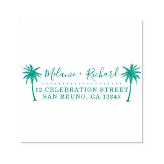 Elegant Script & Palm Trees Wedding Return Address Self-inking Stamp