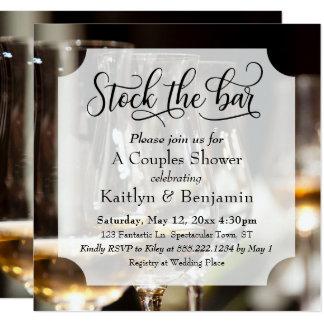 Elegant Script, Photo Stock the Bar Couples Shower Card