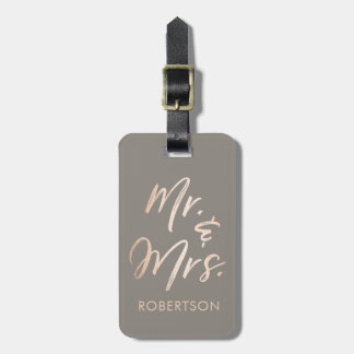 Elegant Script Rose Gold Luggage Tag