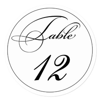Elegant Script Round Table Number Cards