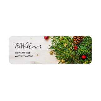 Elegant Script Rustic Wood Christmas Tree Branches Return Address Label