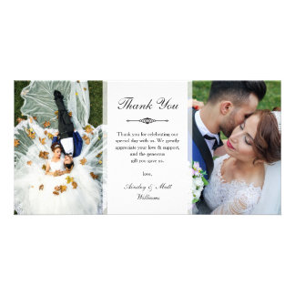 Elegant Script Two Wedding Photos Thank You Card