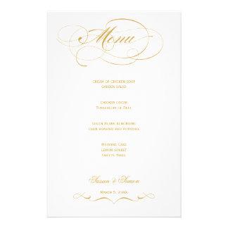 Elegant Script  Wedding Menu - Gold Stationery Design