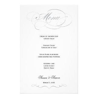 Elegant Script  Wedding Menu - Gray Personalized Stationery