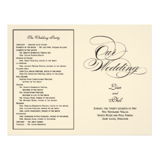 Elegant Script Wedding Program - Black & Off White 21.5 Cm X 28 Cm Flyer