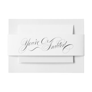 Elegant Script You're Invited Envelope Belly Band Invitation Belly Band