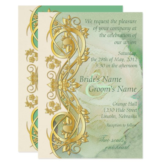 Elegant Scroll Wedding Invitation   Mint Green 2