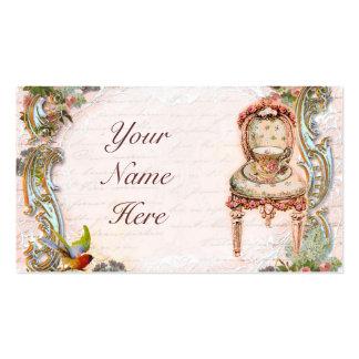Elegant Scrolls & Pink Roses & Teacup Pack Of Standard Business Cards
