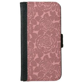 Elegant Sculpted Pink Roses iPhone 6 Wallet Case