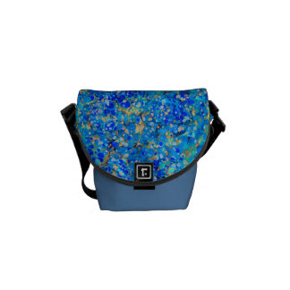 Elegant sea blue beautiful pattern courier bag