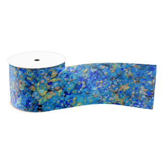 Elegant sea blue beautiful pattern grosgrain ribbon