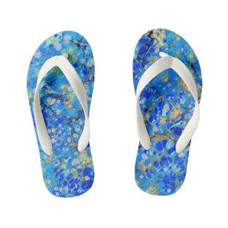 Elegant sea blue beautiful pattern kid's thongs