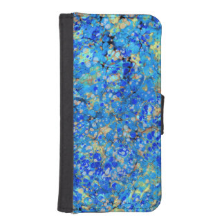 Elegant sea blue beautiful pattern with lace iPhone SE/5/5s wallet case