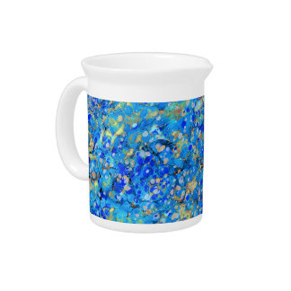 Elegant sea blue beautiful pattern with lace pitcher