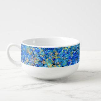 Elegant sea blue beautiful pattern with lace soup mug