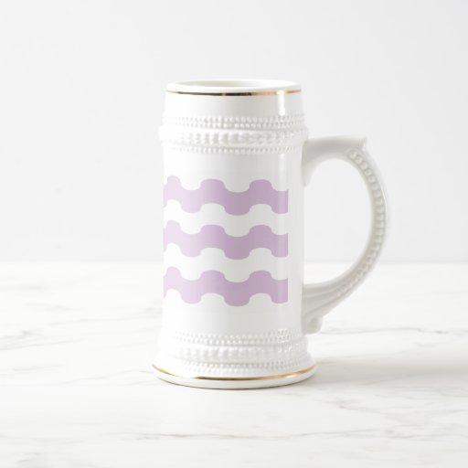 Elegant sea of strips waved in lilac coffee mugs