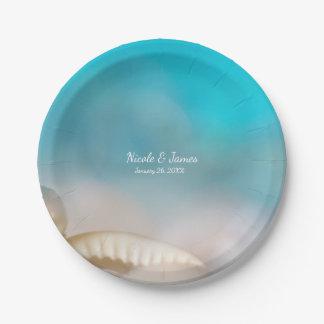 Elegant Sea Shells Blue Tropical Beach Wedding Paper Plate