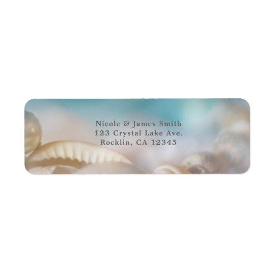 Elegant Sea Shells Blue Tropical Wedding Invite Return Address Label