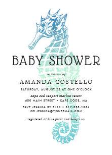 Seahorse Baby Shower Invitations