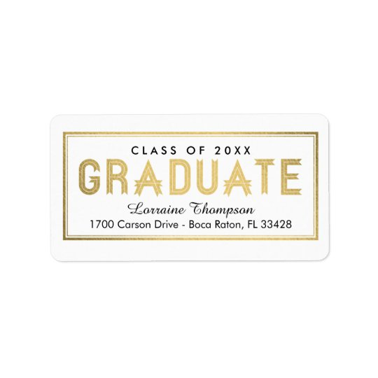 Elegant Seal Graduation Address Labels - Gold