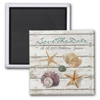 elegant  seashells beach wedding save the date magnet