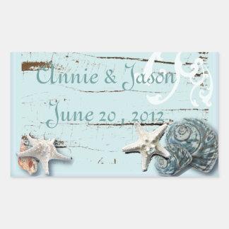 Elegant Seashells Beach Wedding Stationery Rectangular Sticker