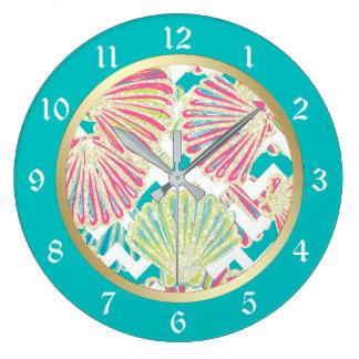 Elegant Seashells Chevron Large Clock