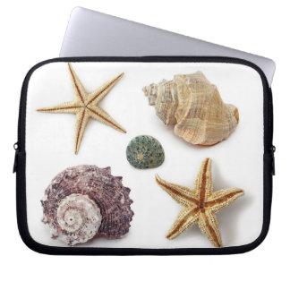 Elegant seashells shabby chic beach computer sleeve
