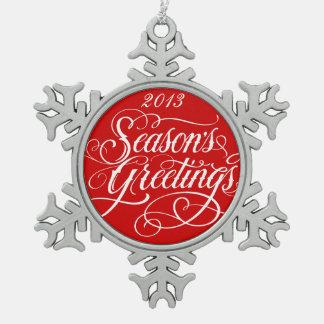 Elegant Season Greetings Red Christmas Ornament