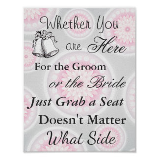 Elegant Seating Poster  Wedding  Silver and Pink