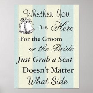 Elegant Seating Poster  Wedding  Tan and Blue