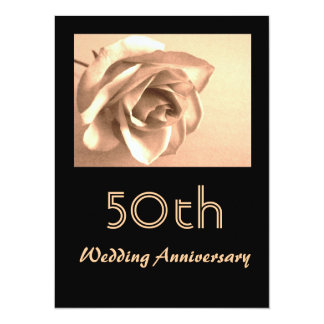 Elegant Sepia Rose 50th Wedding Anniversary Invite