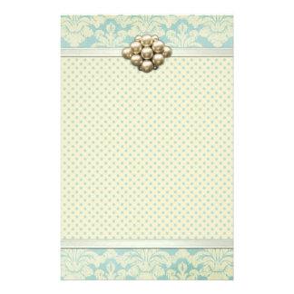 Elegant Shabby Chic Floral Stationery Pastel Blue