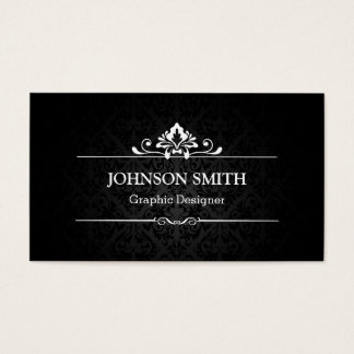 Elegant Shadow of Damask - Black and White Business Card