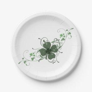 Elegant Shamrock Art Paper Plate