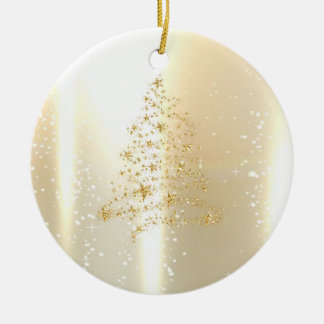 Elegant Shiny,Faux Gold Christmas Tree Ceramic Ornament