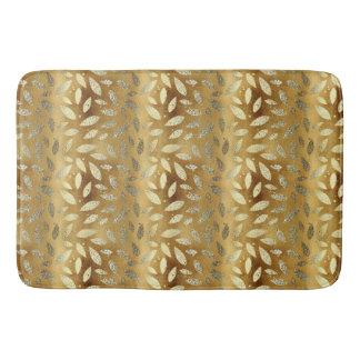 Elegant Shiny Gold Leaves Bath Mat