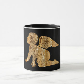 Elegant Shiny Golden Angel Black and Gold Mug
