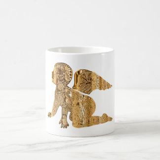 Elegant Shiny Golden Angel Heavenly White Coffee Mug