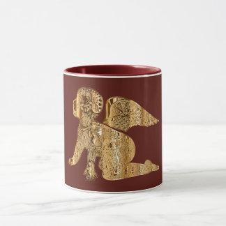 Elegant Shiny Golden Angel Red Brown Maroon Mug