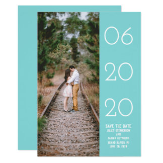 Elegant Side Swept Photo Save the Date | Turquoise Card