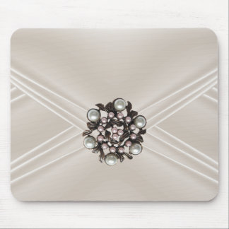Elegant Silk Beige Pearl Jewel Purse Mouse Pad