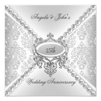 Elegant Silver 25th Wedding Anniversary Damask Card