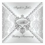 Elegant Silver 25th Wedding Anniversary Damask 13 Cm X 13 Cm Square Invitation Card