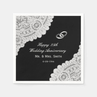Elegant Silver 25th Wedding Anniversary Disposable Napkins