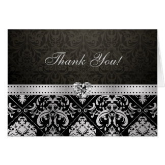 Elegant Silver and Black Damask with Diamond Heart Card