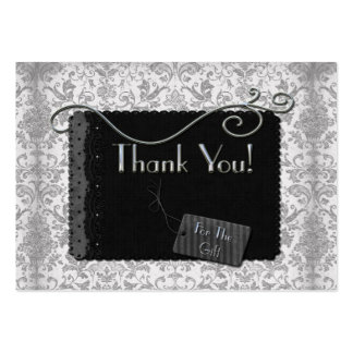 Elegant Silver and Black Thank You Pack Of Chubby Business Cards