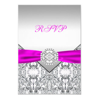 Elegant Silver and Fuchsia RSVP Card